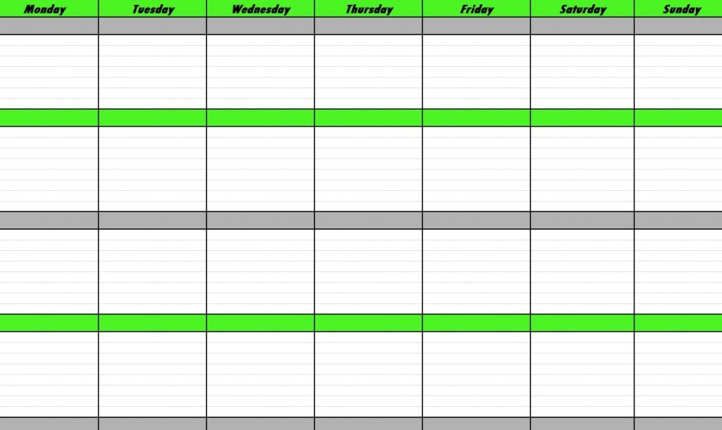 Weekly Schedule Template | E-Commercewordpress Free Sunday Through Saturday Scheduling Calender