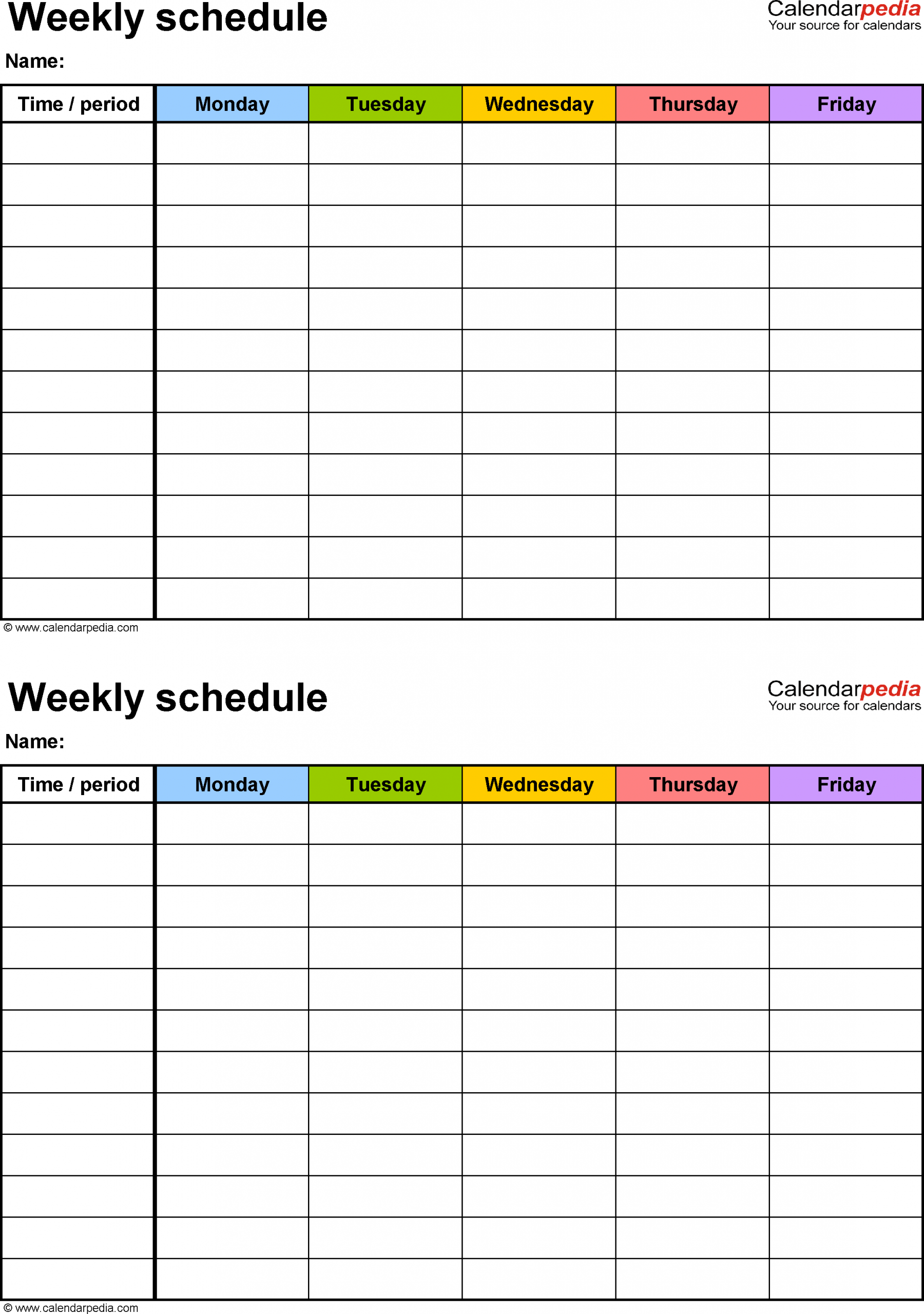 Weekly Schedule Template For Excel Version 3: 2 Schedules Free Daily Calendar Monday Through Friday