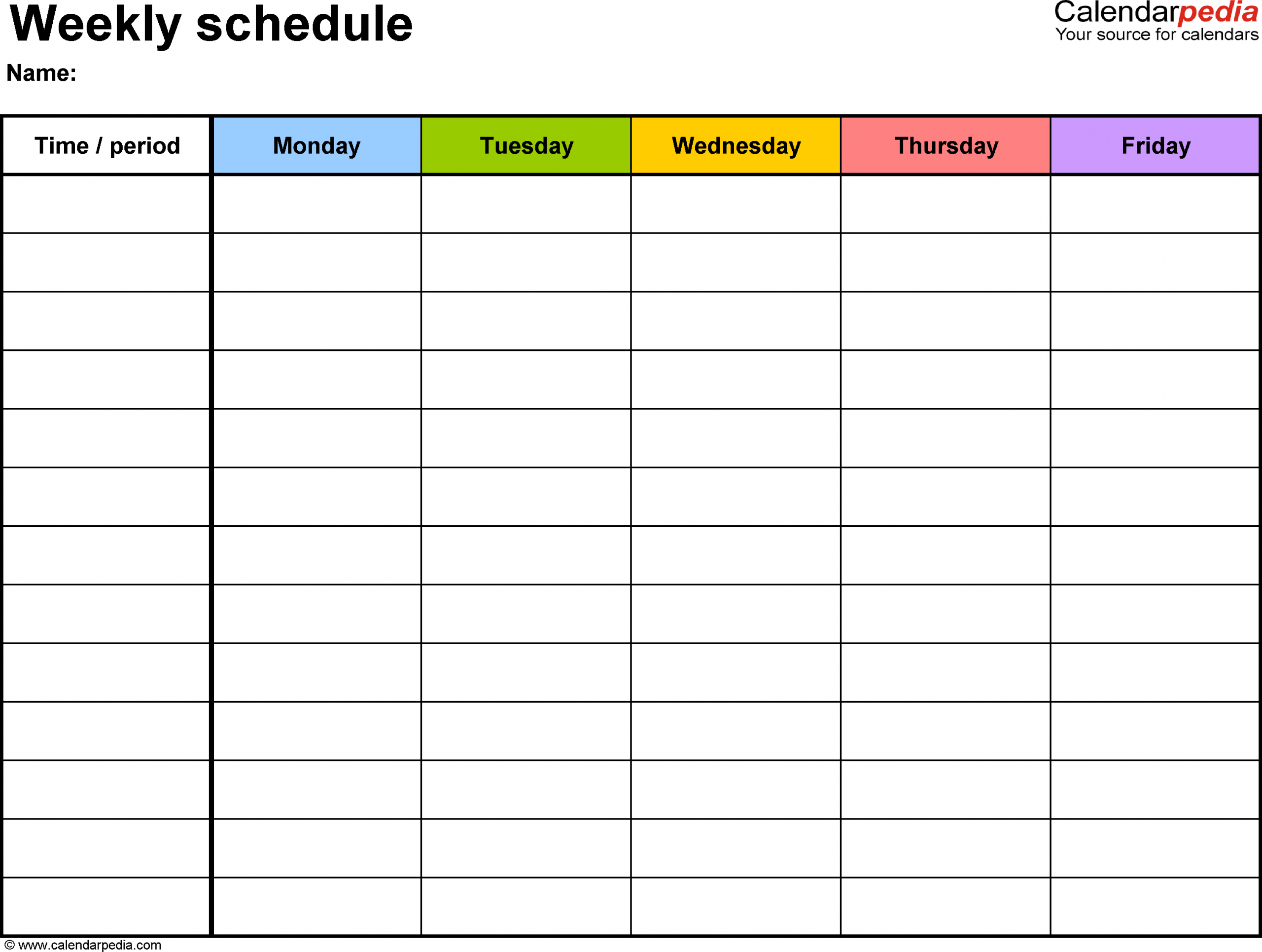 Weekly Schedule Template For Word Version 1: Landscape, 1 Sprint Days Calendar Excel