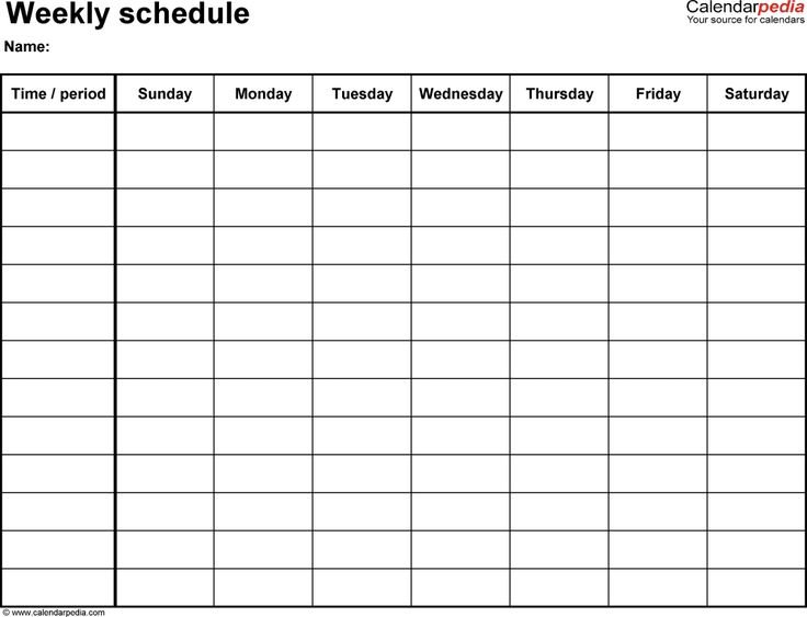 Weekly Schedule Template For Word Version 14: Landscape, 1 Blank Sunday Through Saturday Calendar