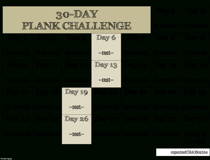 We're Doing The Plank Challenge. Are You In?   Plank Plank Challenge 30 Day Chart