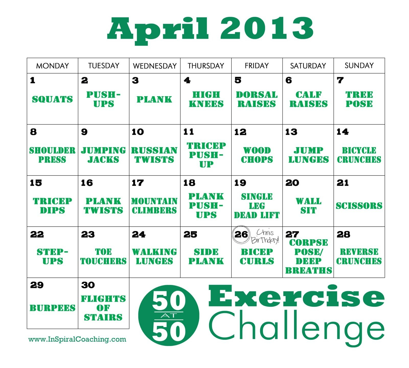 What Happened Next: Spring Is Here - Fitness Friday! Supreme 90 Day Calendar