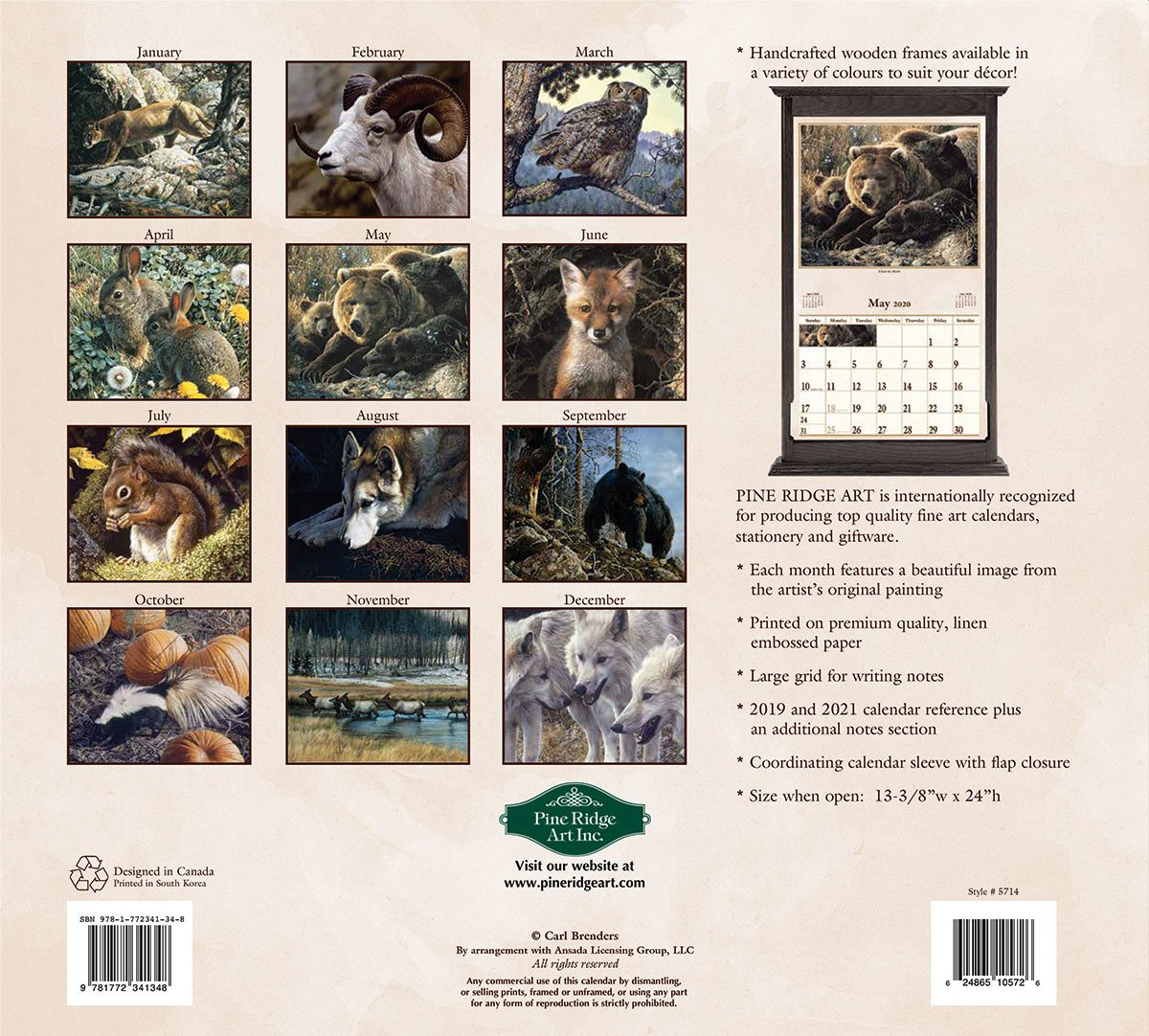 Window On Wildlife 2020 Wall Calendar | The Lang Store Wooden 3 Month Calendar Frame