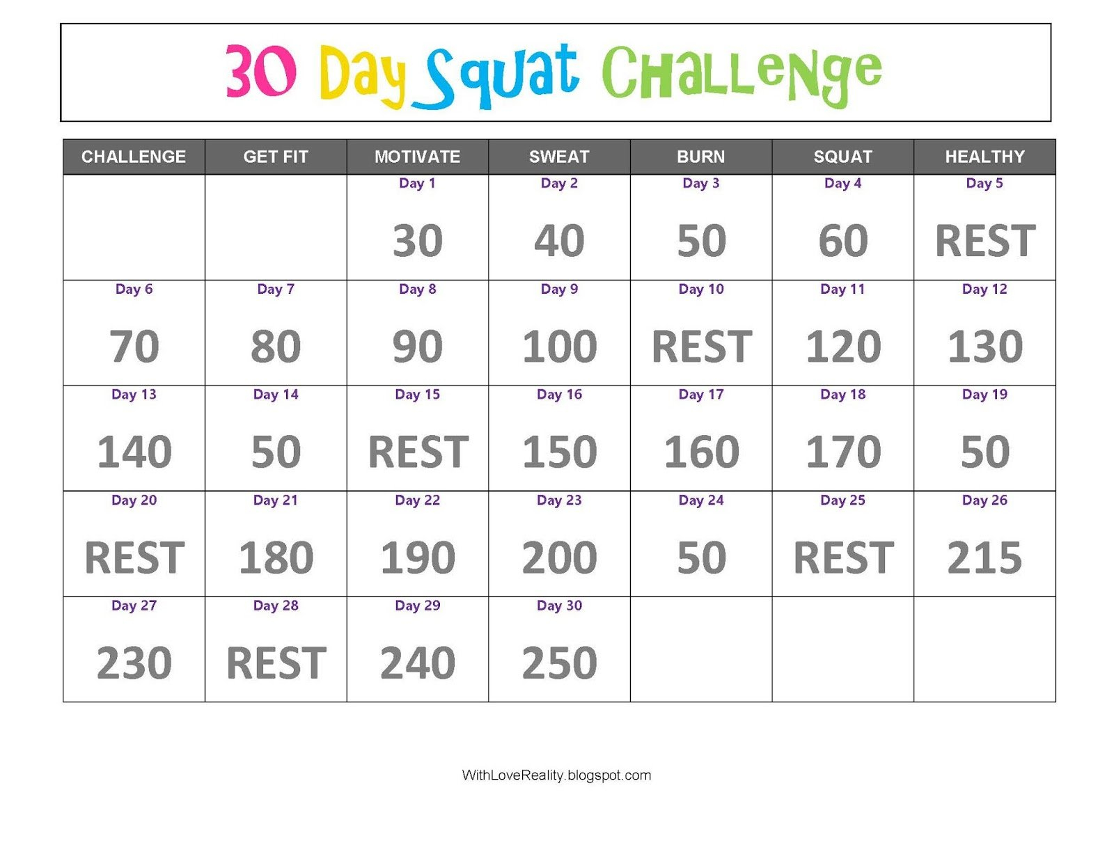 With Love, Reality: 30 Day Squat Challenge 30 Day Squat Challenge Schedule Calendar