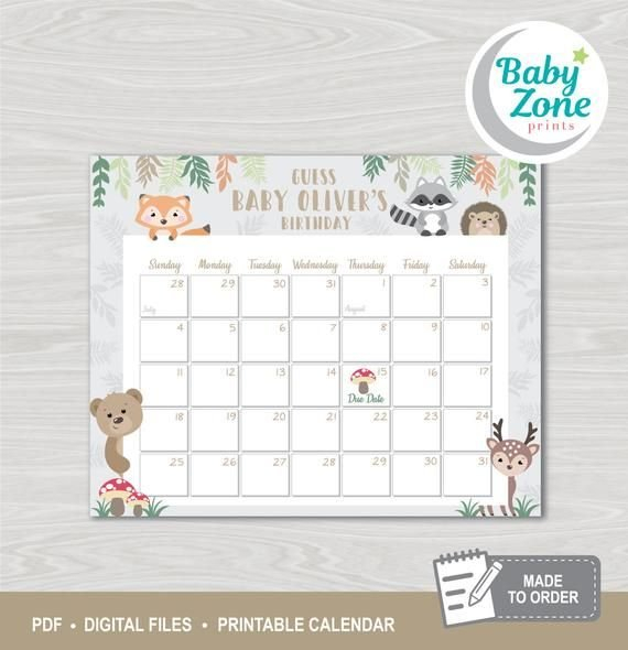 Woodland Animals Baby Due Date Printable Prediction Guess The Babys Birthday