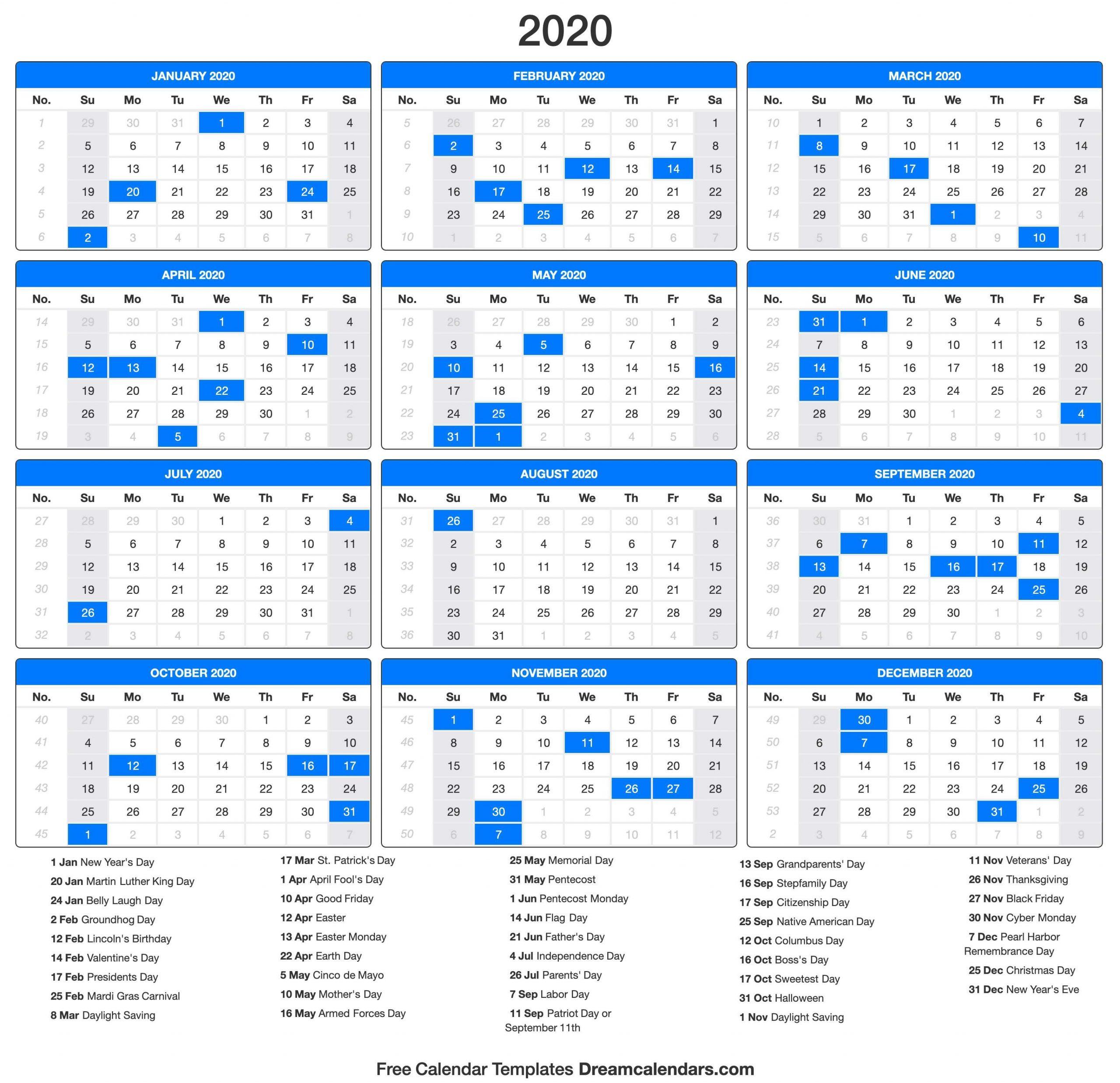 Yearly 2020 Calendar Templates. Hi Everyone, Did You Make Printable Rip Off Day Calendar