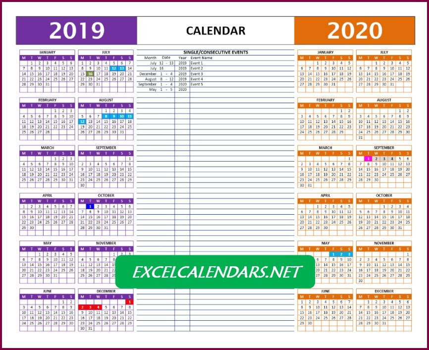 Yearly Calendar Templates For Year 2019 | 2020 | 2021 5 Year Schedule Excel
