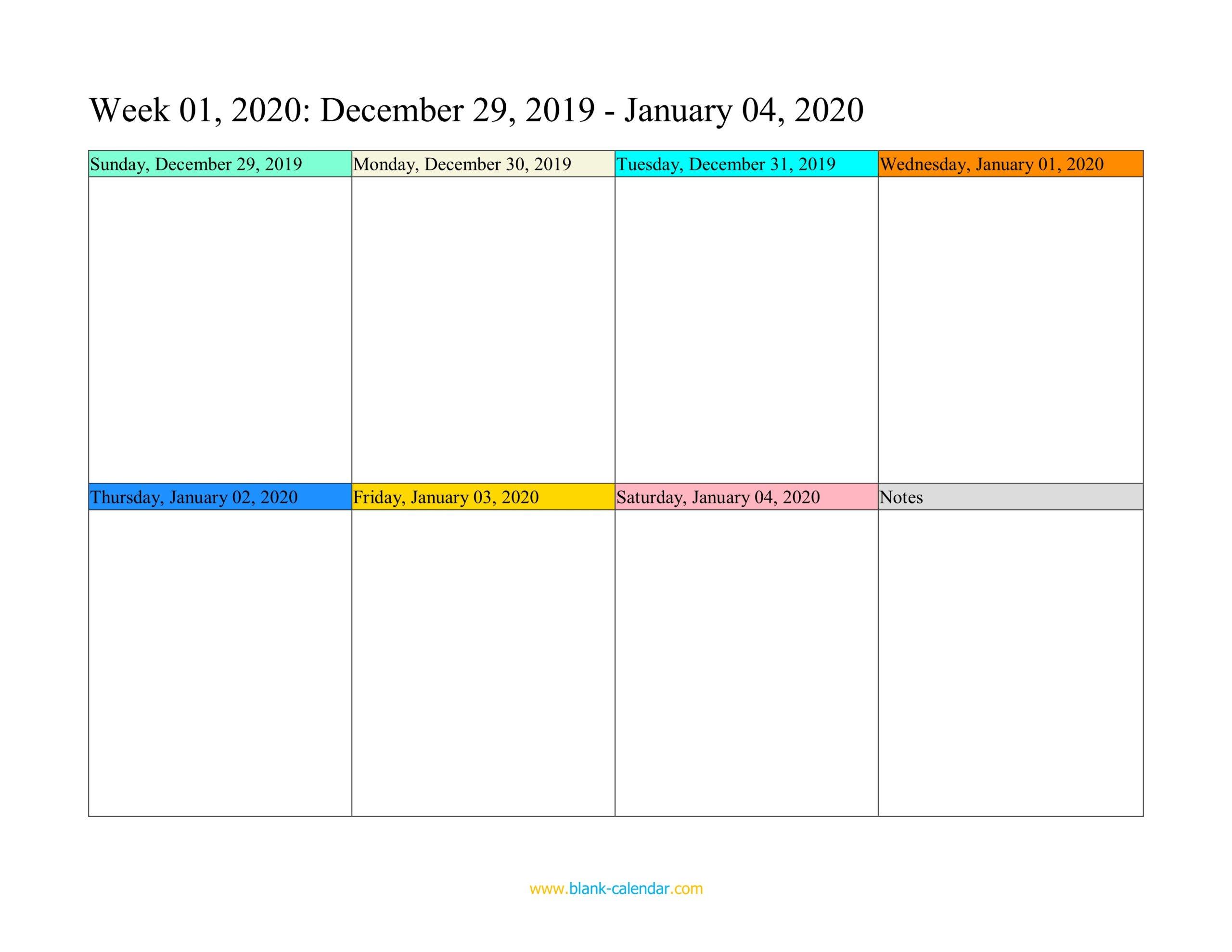 1 Week Calendar Fillable Printable   Calendar Printables One Week Schedule Printable