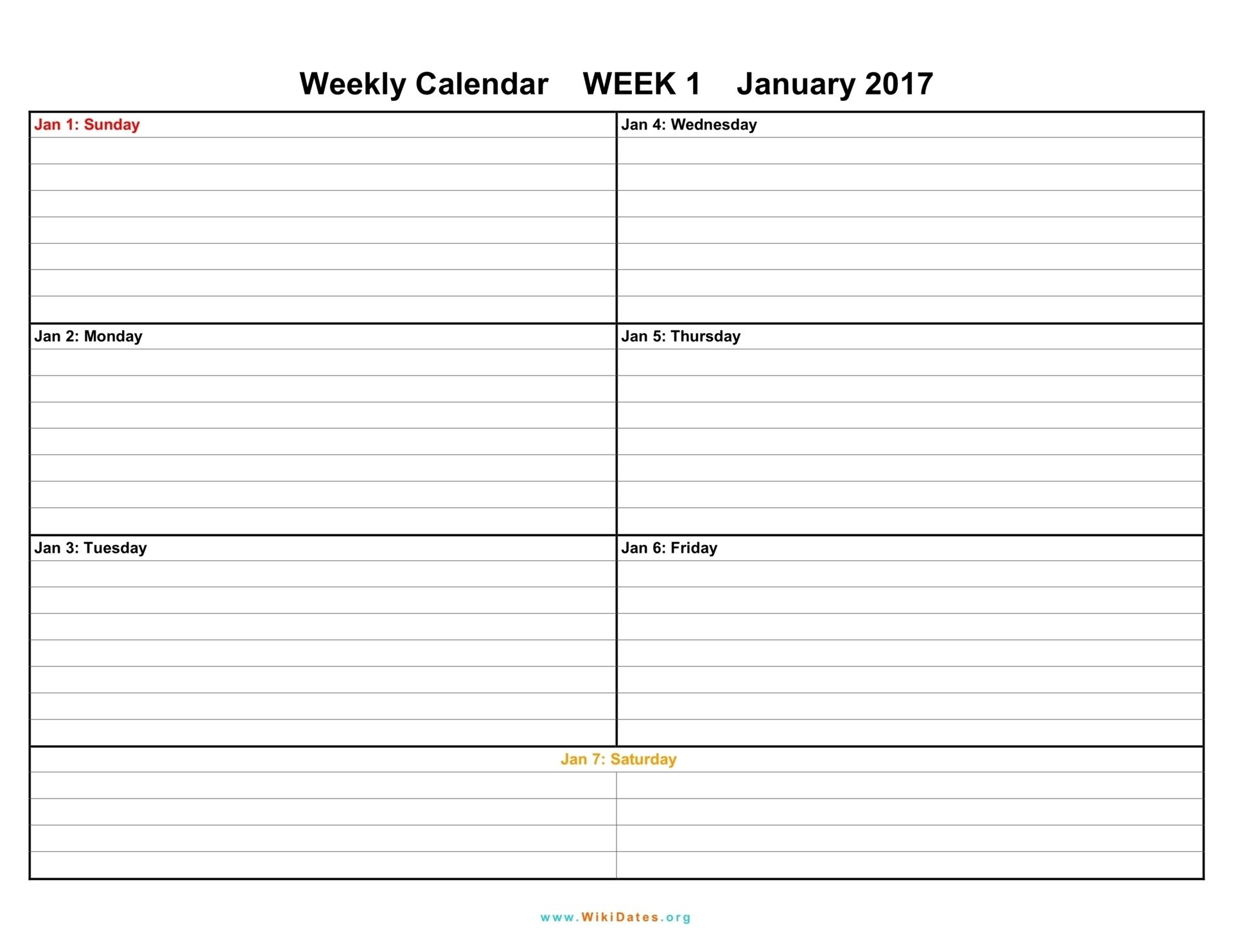 1 Week Vacation Calendar Printable - Template Calendar Design A One Week Calander
