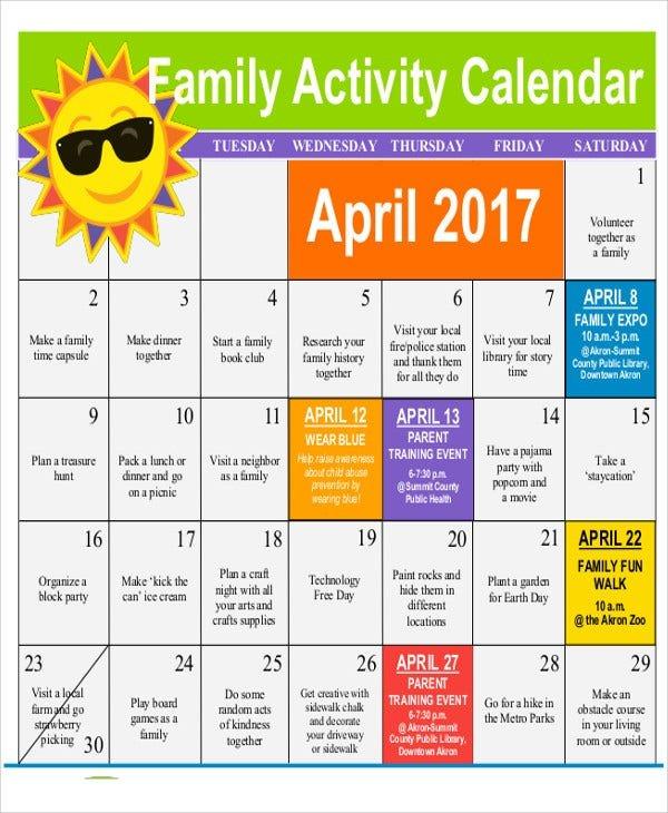 11+ Activity Calendar Templates - Free Samples, Examples Free Interactive Calendar Templates