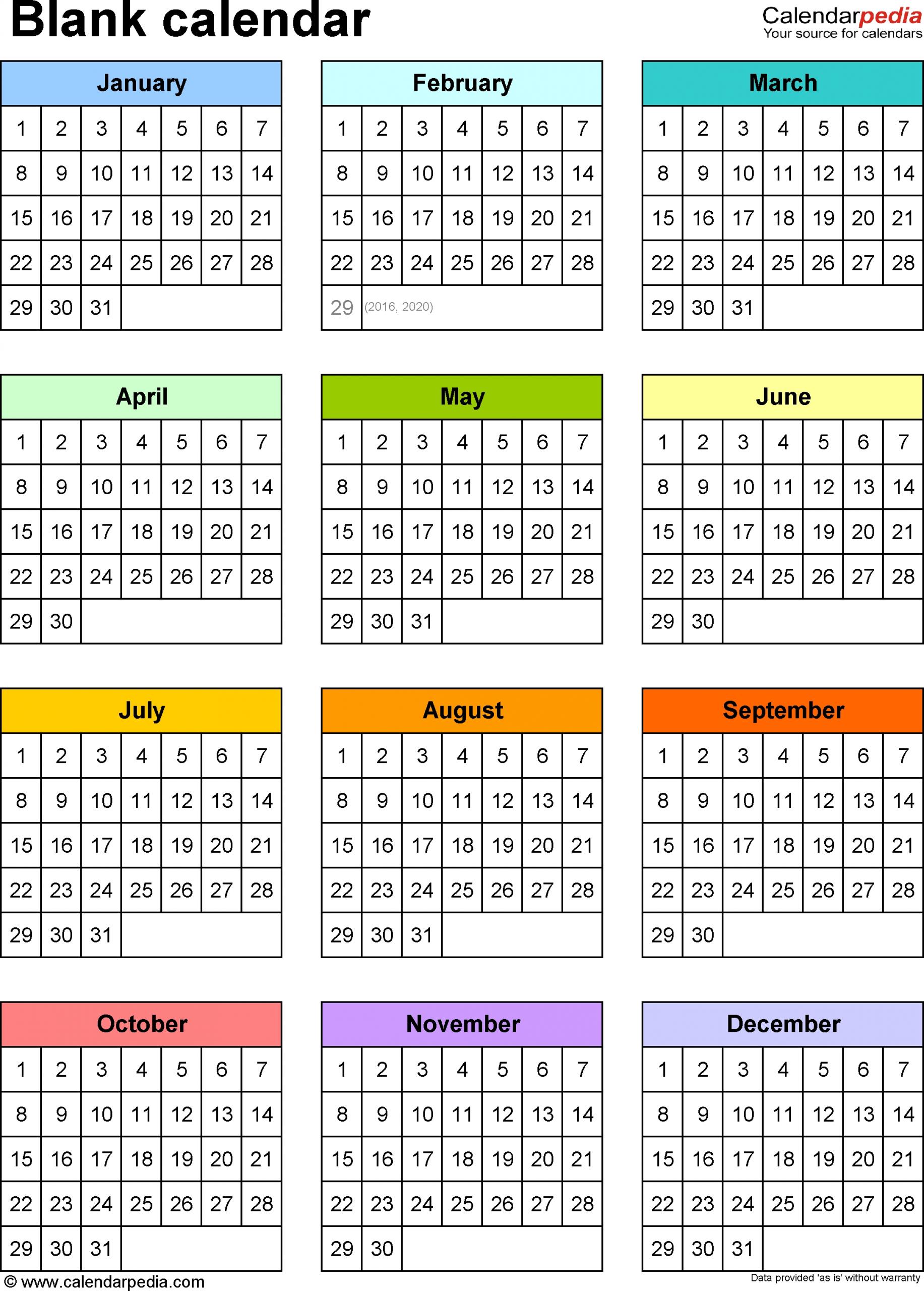 12 Month At A Glance Fill In Template Calendar | Calendar Fill In And Print Calendars