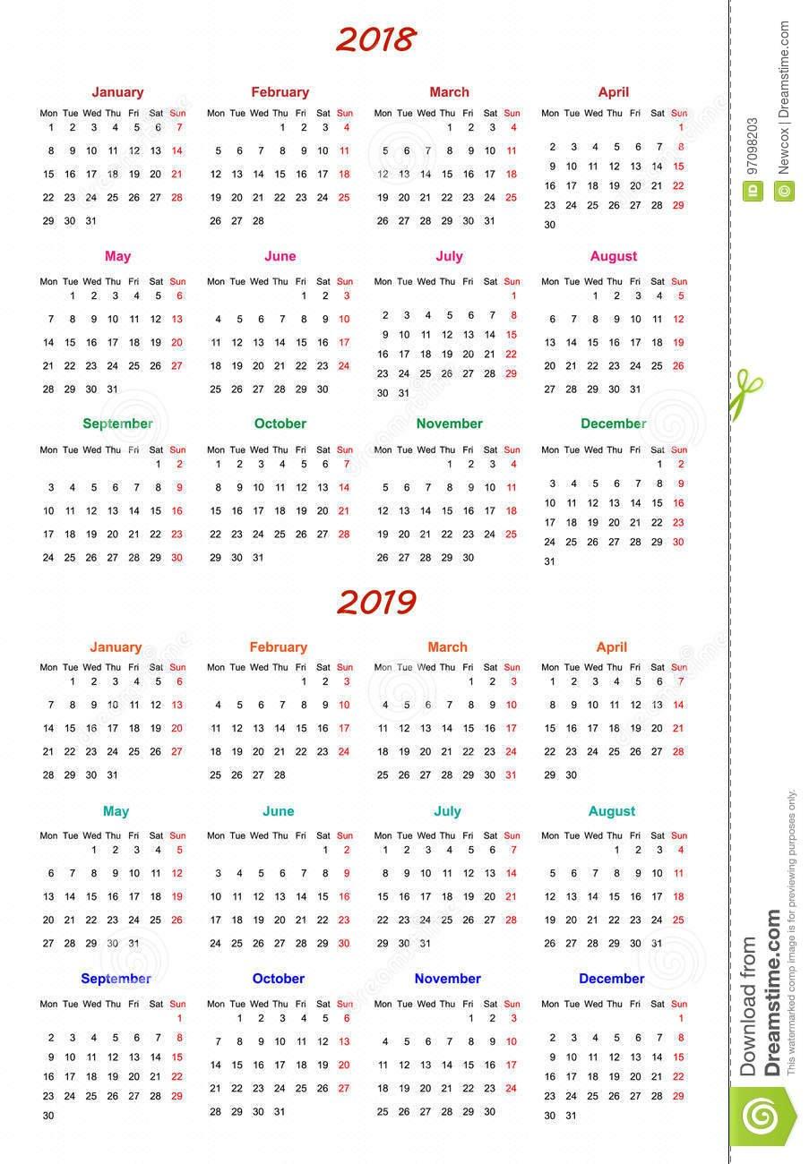 12 Month Calendar Design 2018-2019 Stock Vector Printable And Editable 12 Month Calendars