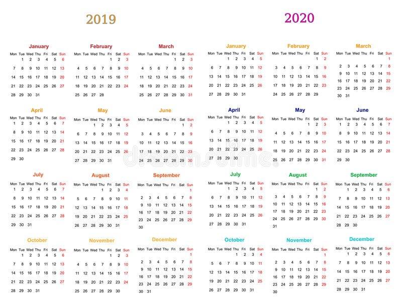 12 Month Calendar Design 2019-20120 Stock Vector Editable 12 Month Calendar