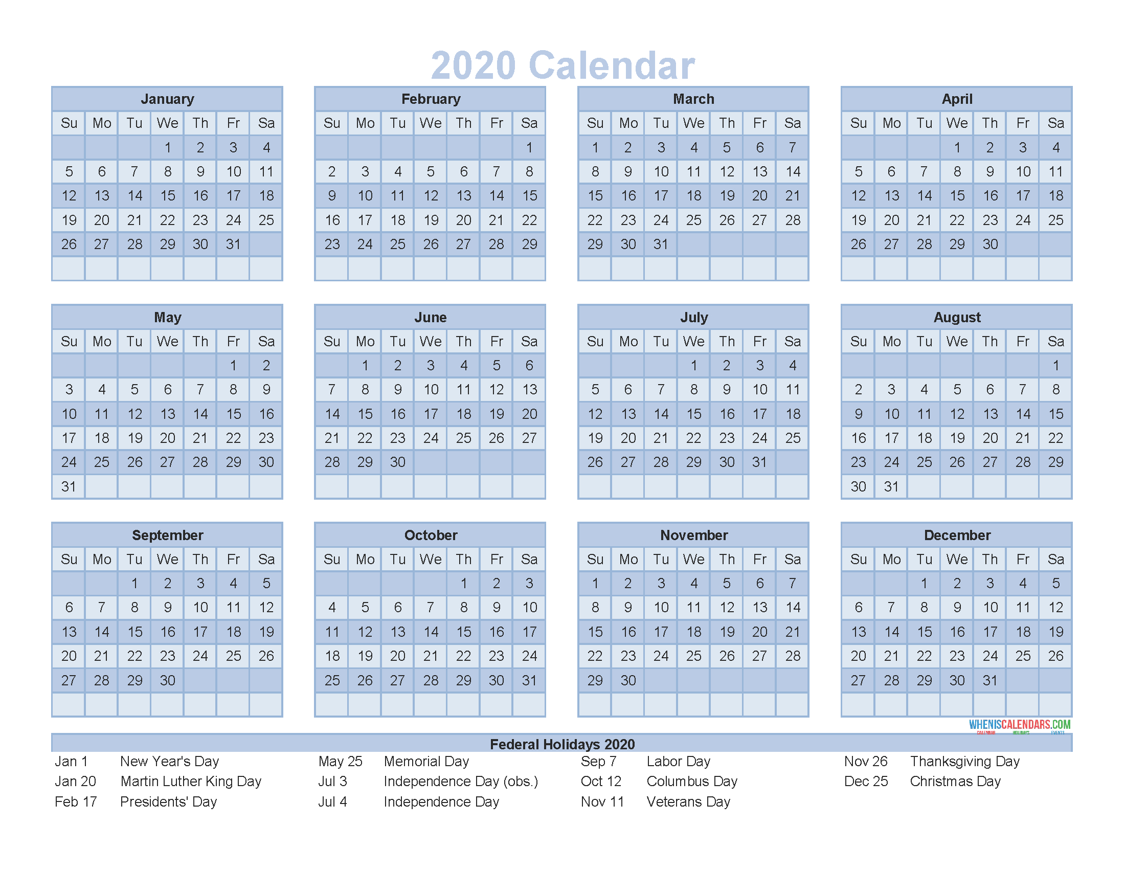 12 Month Calendar On One Page 2020 Printable Pdf, Excel, Image Printable And Editable 12 Month Calendars