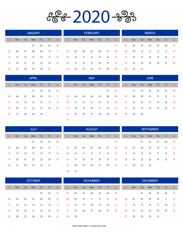 12 Month Colorful Calendar For 2020 - Free Printable Calendars Free Printable 8 1/2 X 11 Calendar