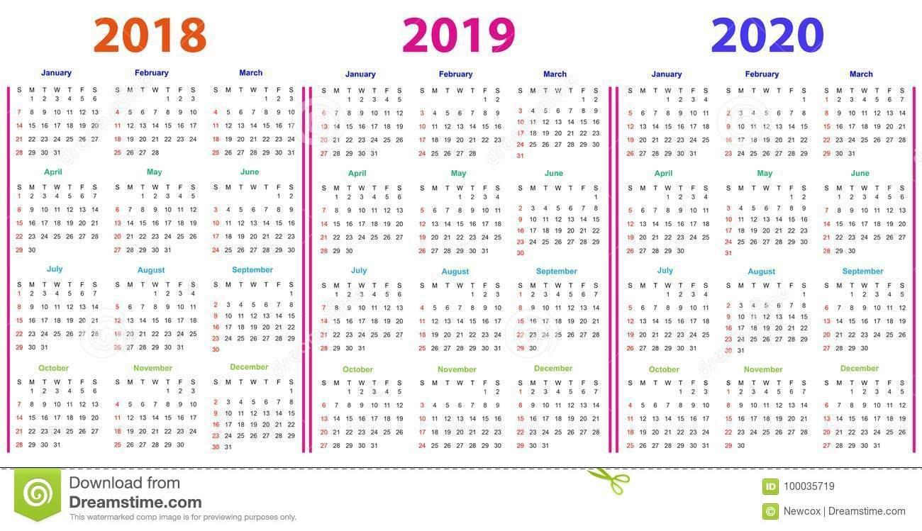 12 Months Calendar Design 2018-2019-2020 Stock Vector Editable 12 Month Calendar