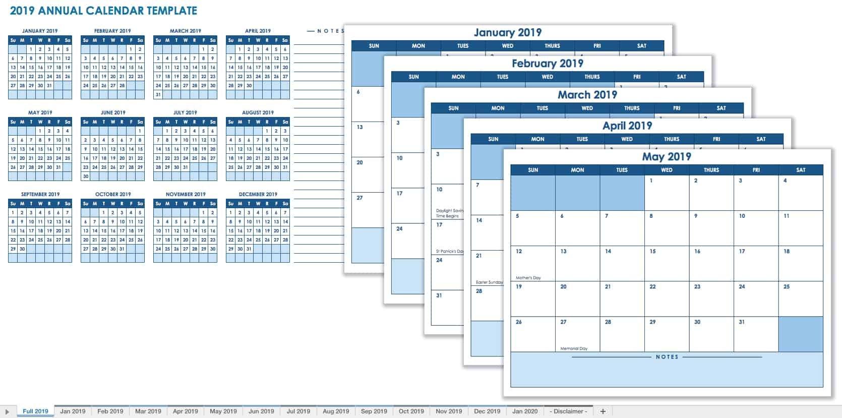 15 Free Monthly Calendar Templates | Smartsheet 12 Month Birthday Calendar Free Printable