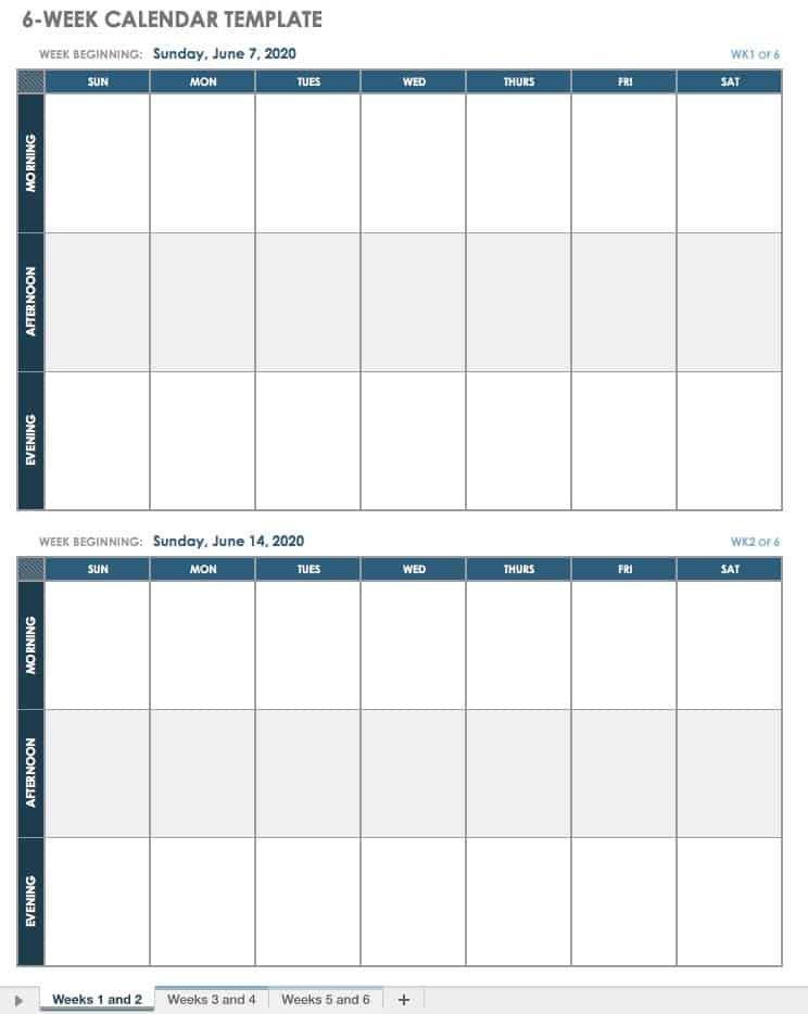 15 Free Weekly Calendar Templates | Smartsheet 4 Week Printable Calendar