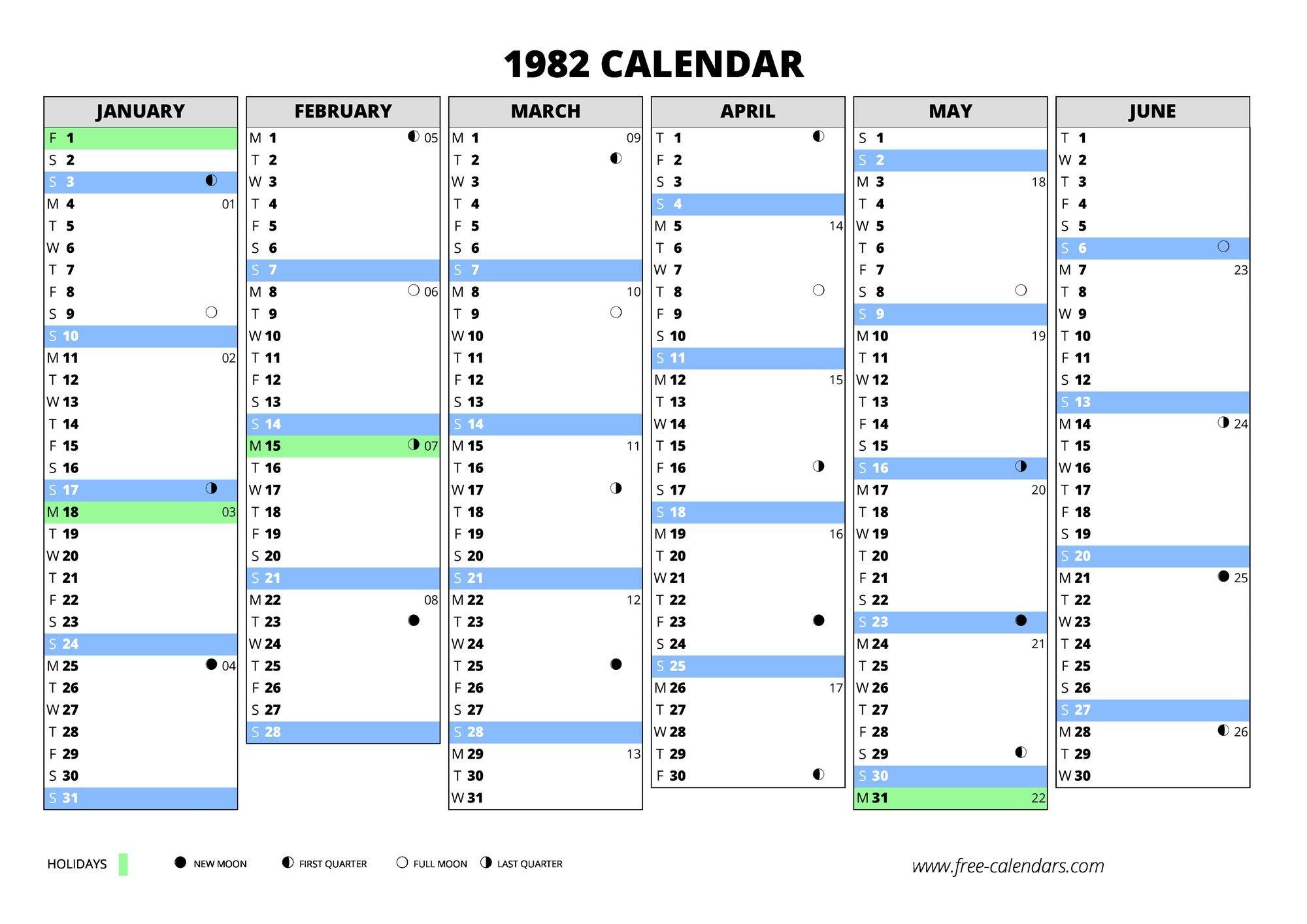 1982 Calendar ≡ Free-Calendars Weekly Numbered 52 Week Calendar Printable