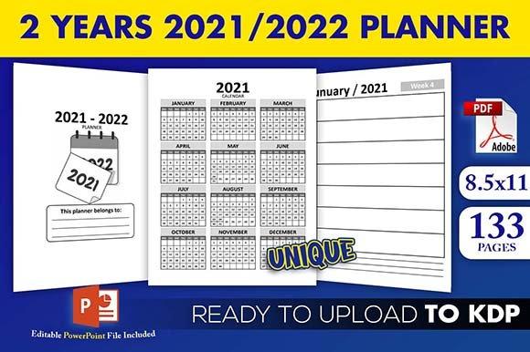 2 Years 2021-2022 Calendar Weekly Planner Kdp Interior Next Two Week Calendar