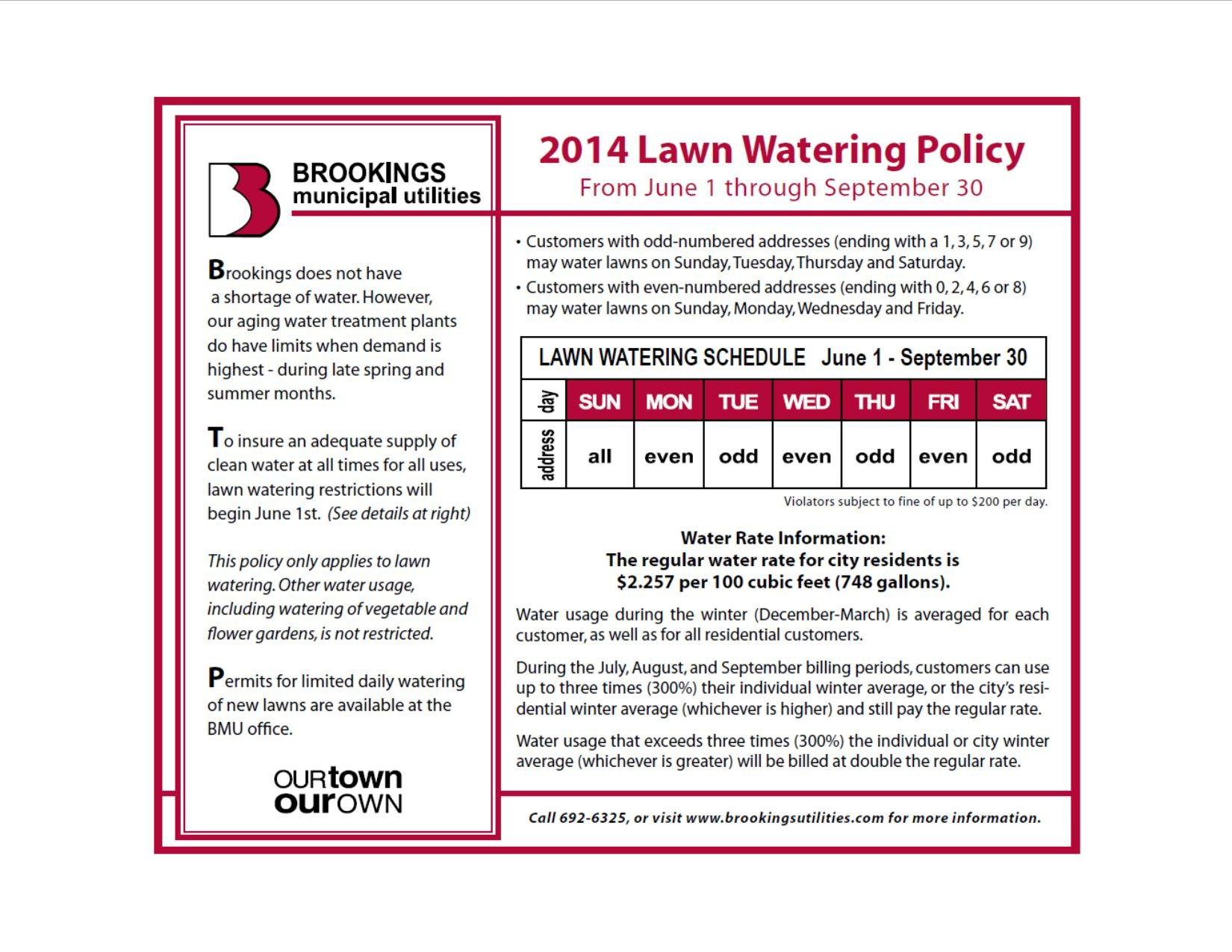 2014 June 1 Through September 30 Lawn Watering Policy.pdf June On Call Calendar