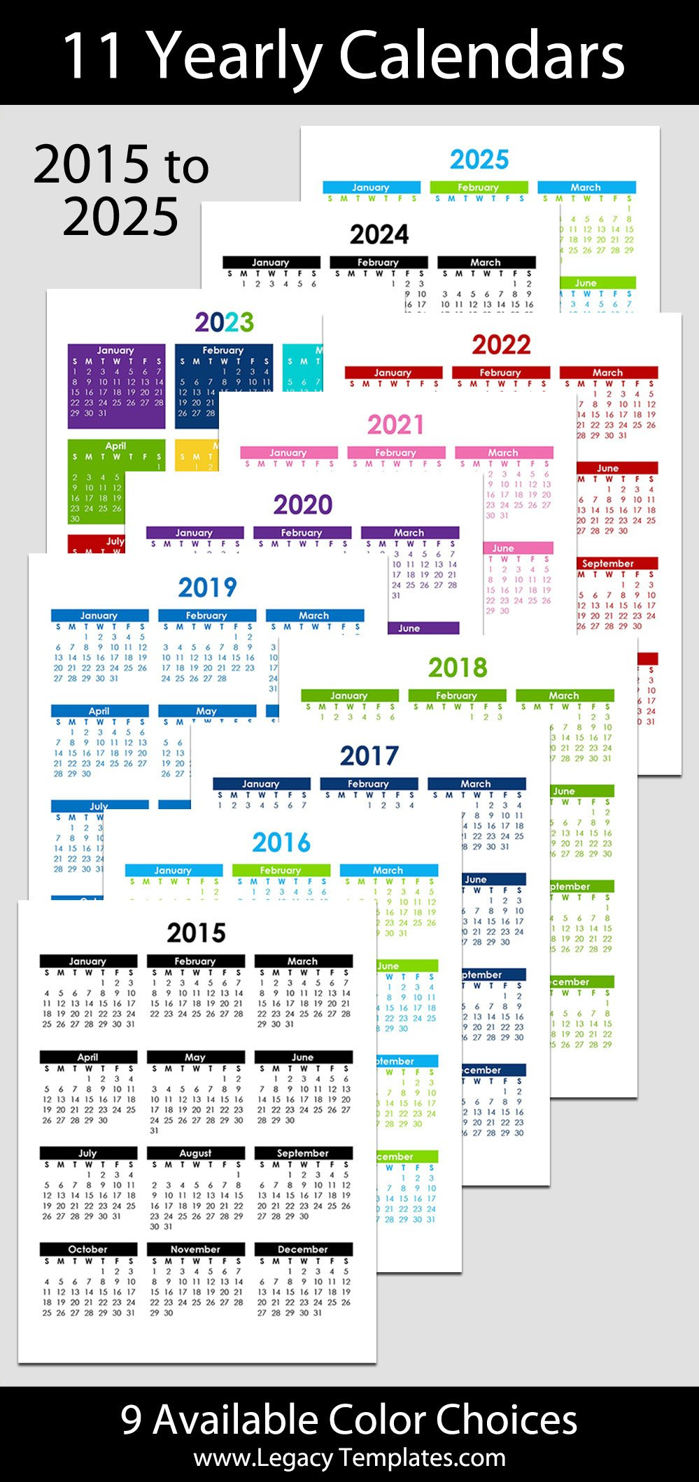 """2015 To 2025 Yearly Calendar - 8 1/2"""" X 11""""   Legacy Templates Free Printable 8 X 11 May Calendar"""