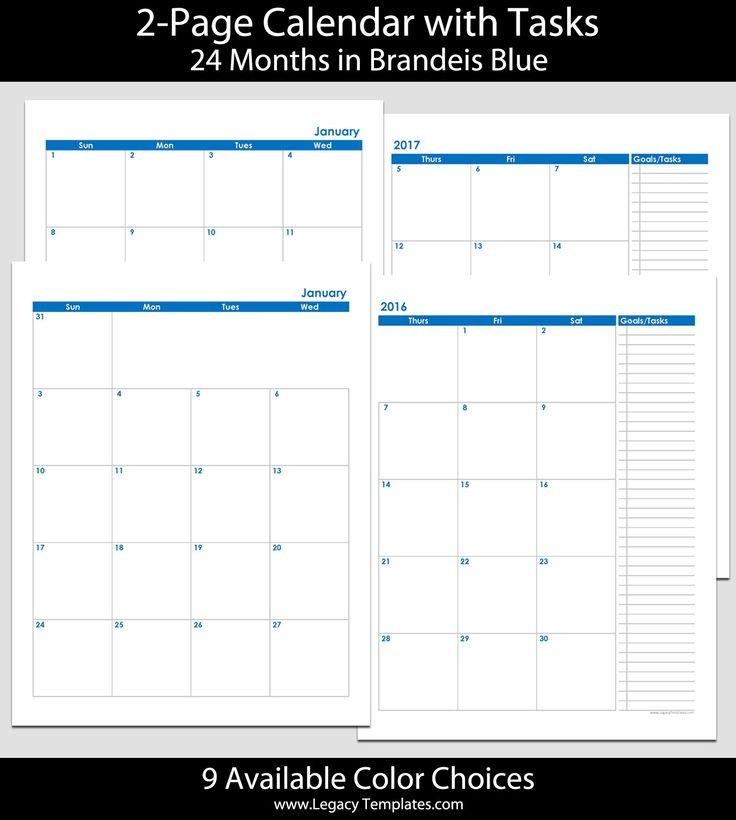 2016 & 2017 24-Month 2-Page Calendar - 8 1/2″ X 11″ | 2016 Free Printable 8 1/2 X 11 Calendar