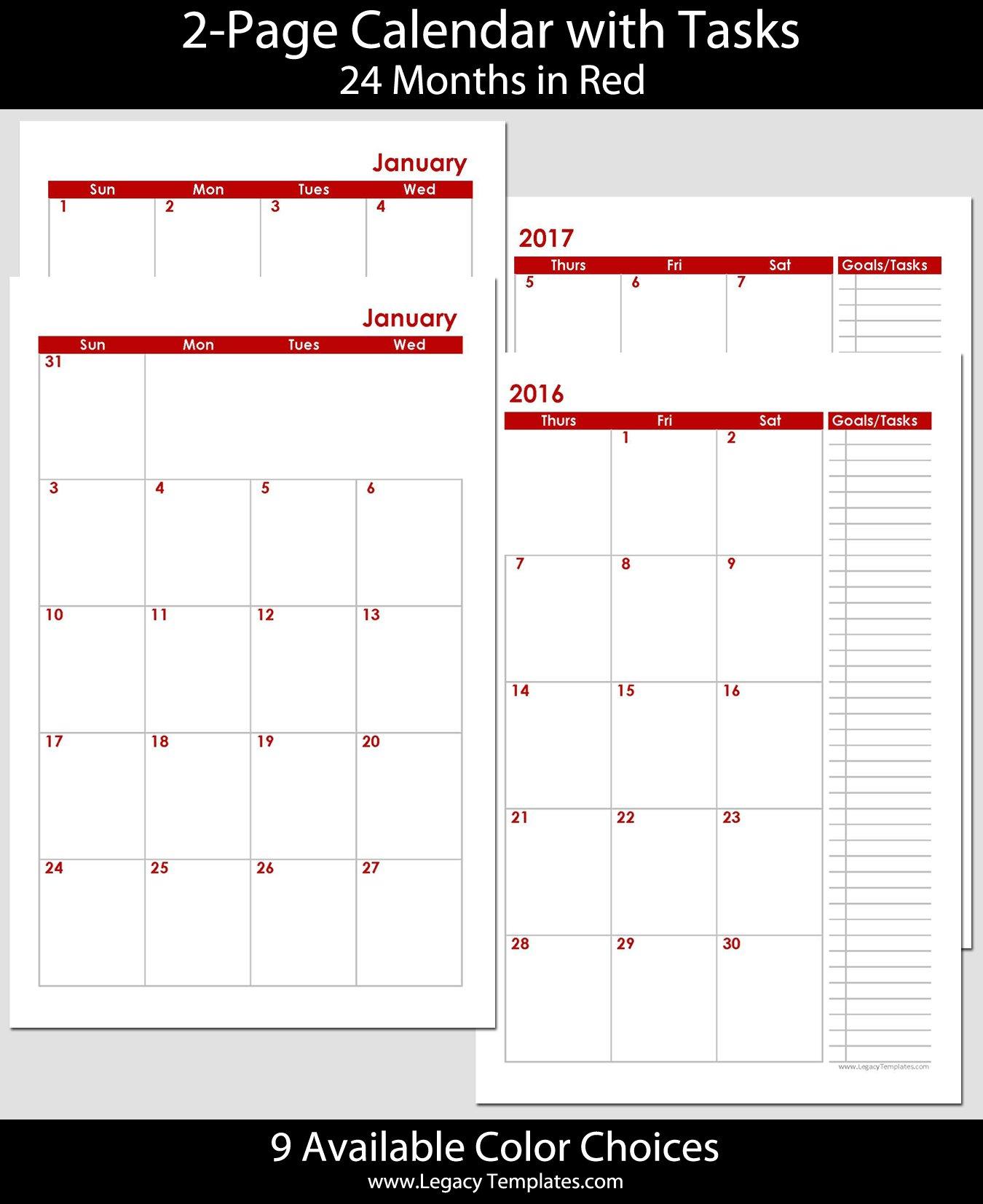 2016 & 2017 - 24-Months 2-Page Calendar - Half Size Monthly Calendar On 8 X 11 Sheet