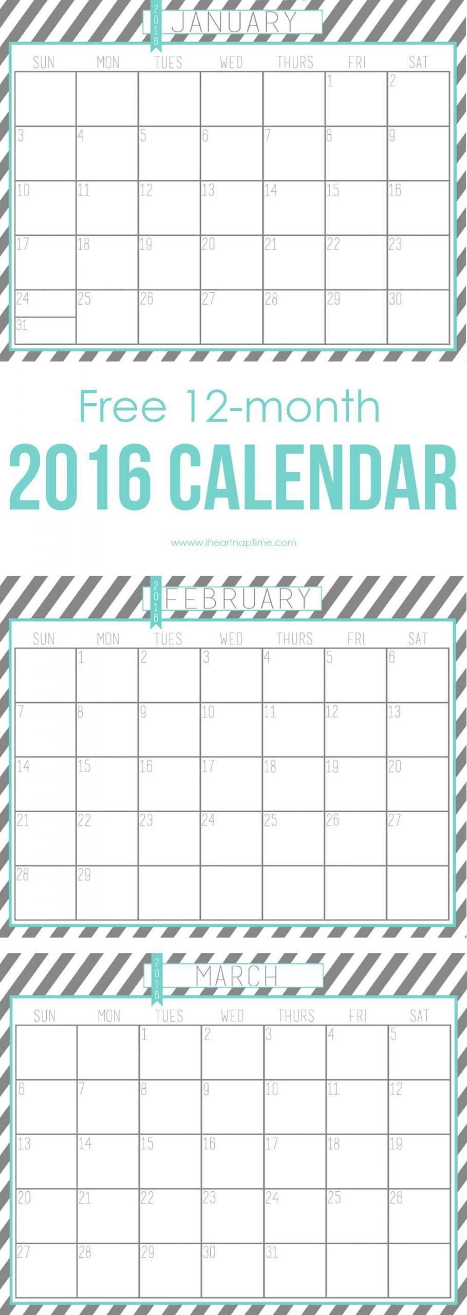 2016 Free Printable Calendar - I Heart Nap Time Printable 2016 Calendar With Notes