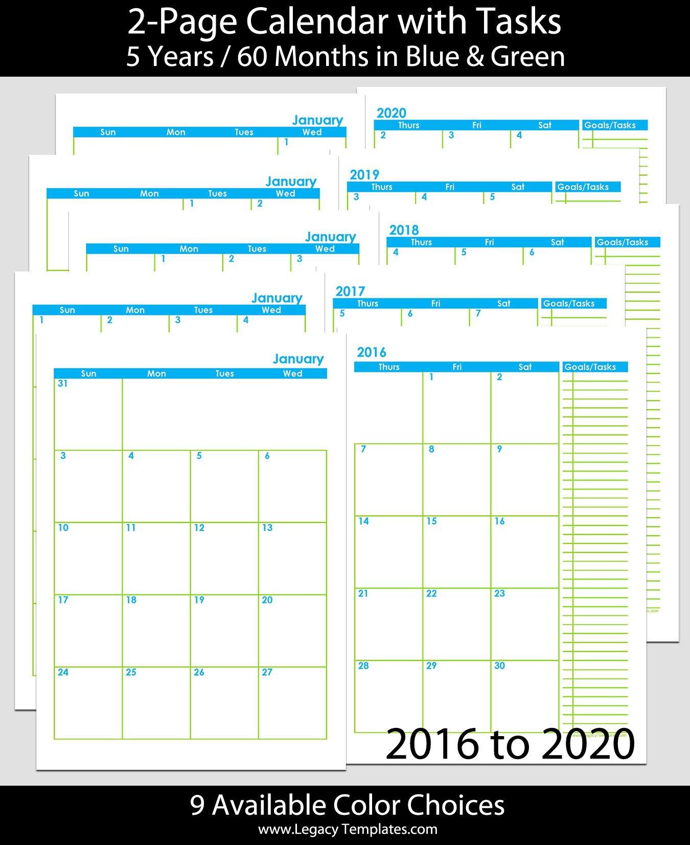 2016 Thru 2020 60-Months 2-Page Calendar - A5 | Legacy Free 8.5 X 5.5 Printable Calendar