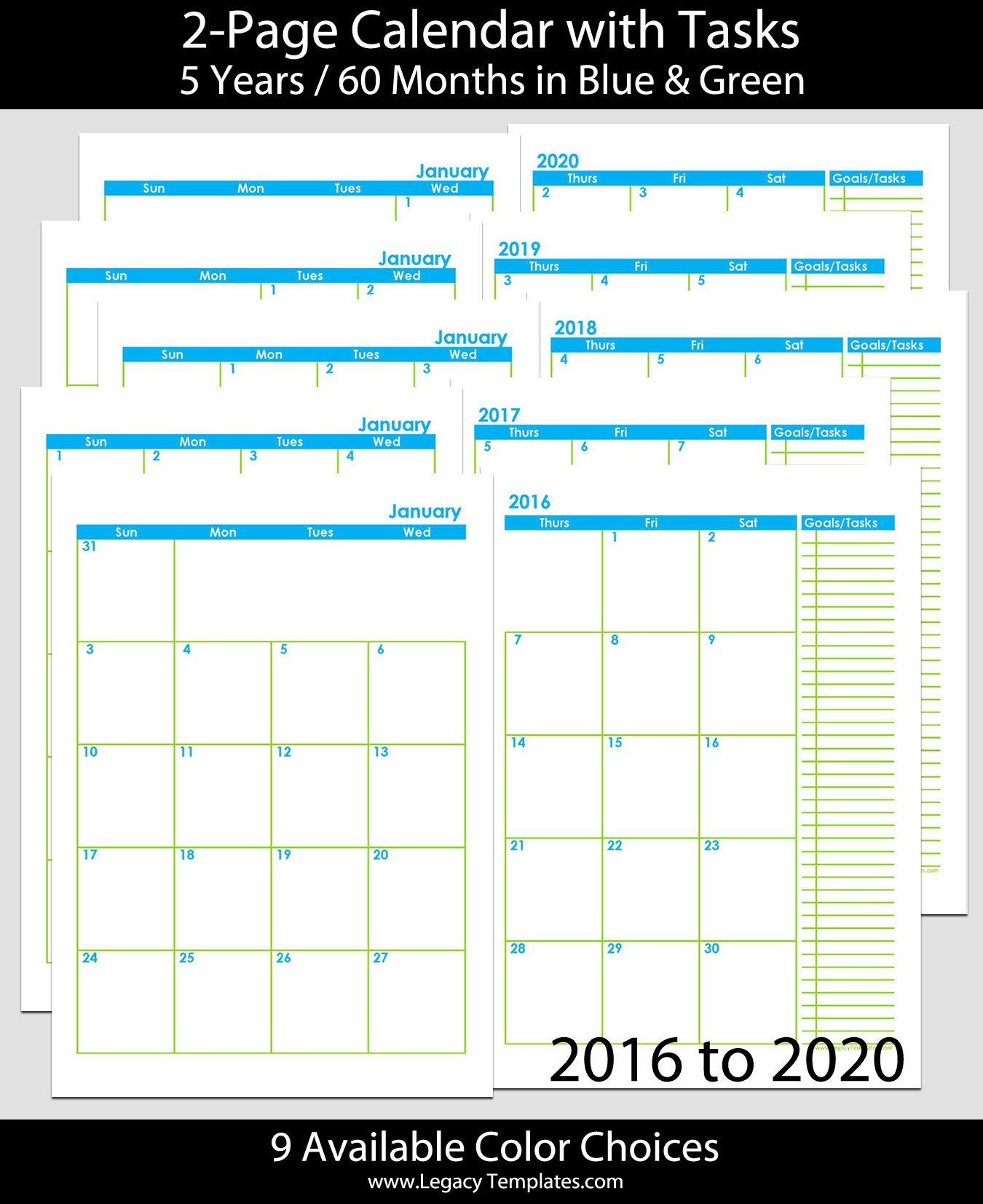 2016 Thru 2020 60-Months 2-Page Calendar - A5   Legacy Free Printable 8 X 11 May Calendar