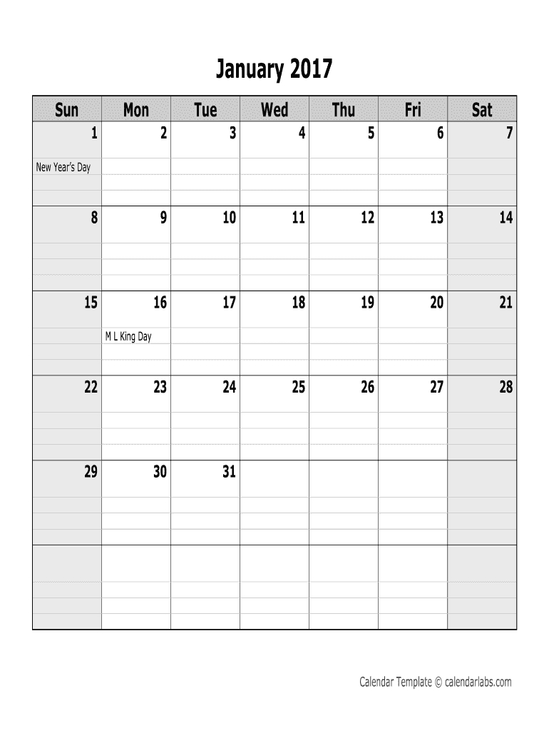 2017 Monthly Calendar - Calendarlabs. 2017 Monthly Online Birthday Calenders To Fill In