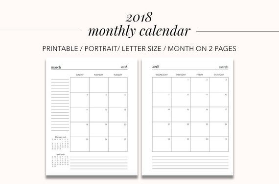 2018 Monthly Calendar Month On 2 Pages Planner Pages Weekly 2 Page Calendar