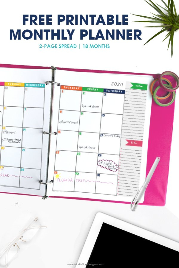 2019-2020 Monthly Calendar Planner   Free Printable Diabeic Calenders To Write On Then Print It Out'