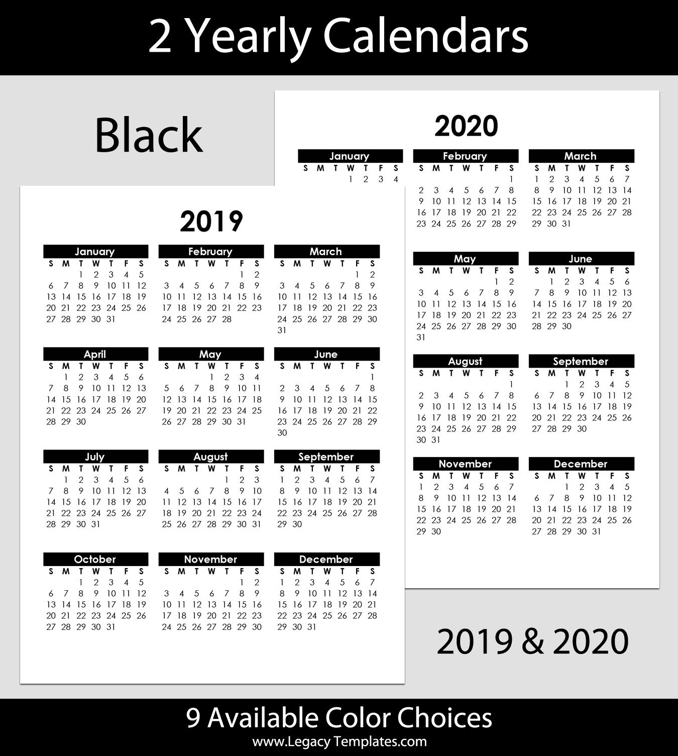 2019 & 2020 Yearly Calendar - 8.5 X 11   Legacy Templates Free Printable 8 X 11 May Calendar