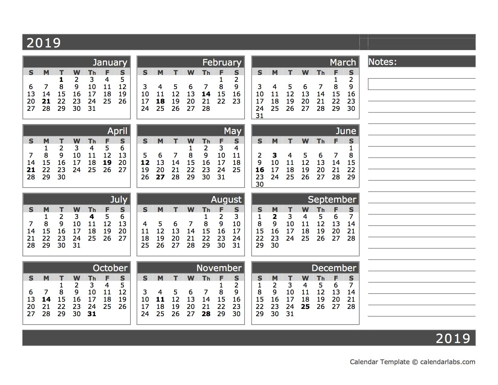 2019 Blank 12 Month Calendar In One Page - Free Printable Printable And Editable 12 Month Calendars