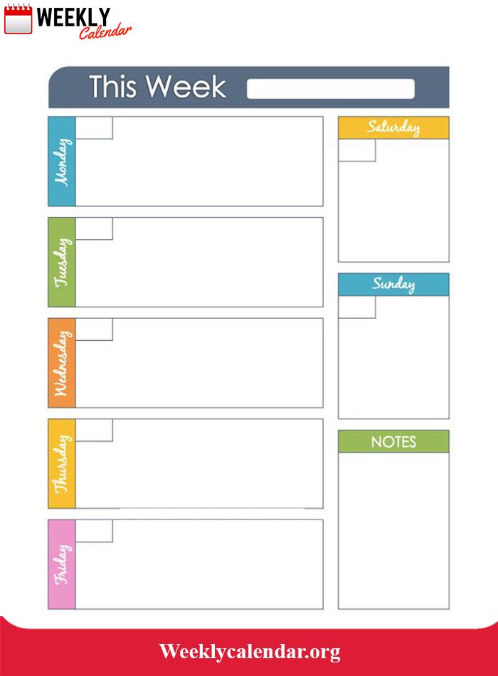 2019 Blank Weekly Calendar Printable In Pdf, Word & Excel Two Week Calendar Pdf