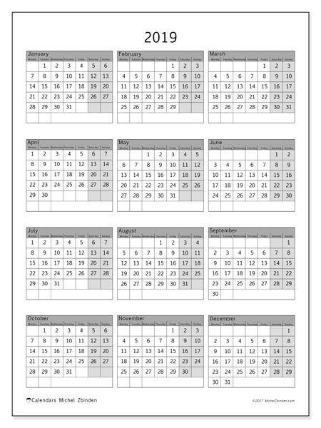2019 Calendar (37Ms) - Michel Zbinden En 8 X 11 Calendar Pages