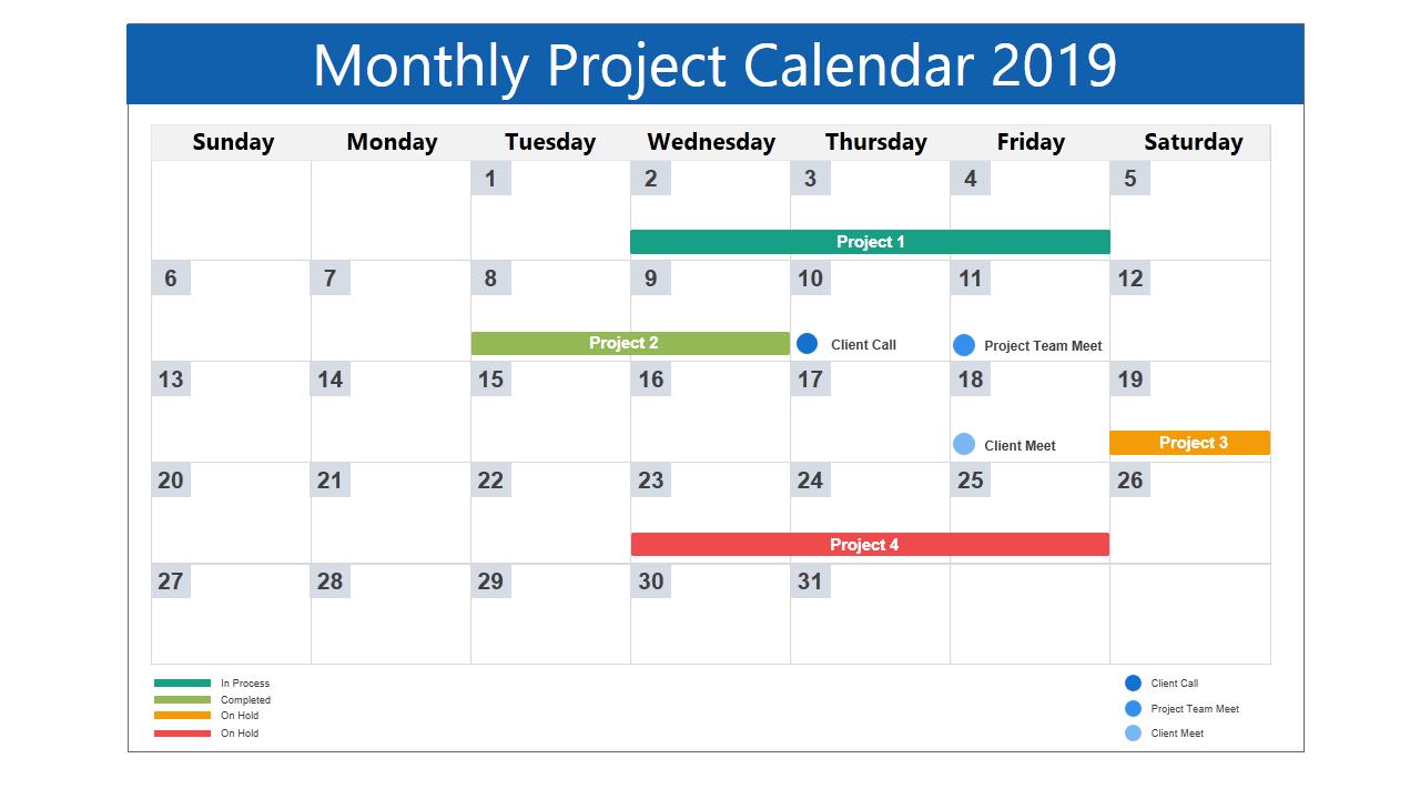 2019 Calendar Template: 13 Powerpoint Calendar Templates Free Monthly Task Calendar Template