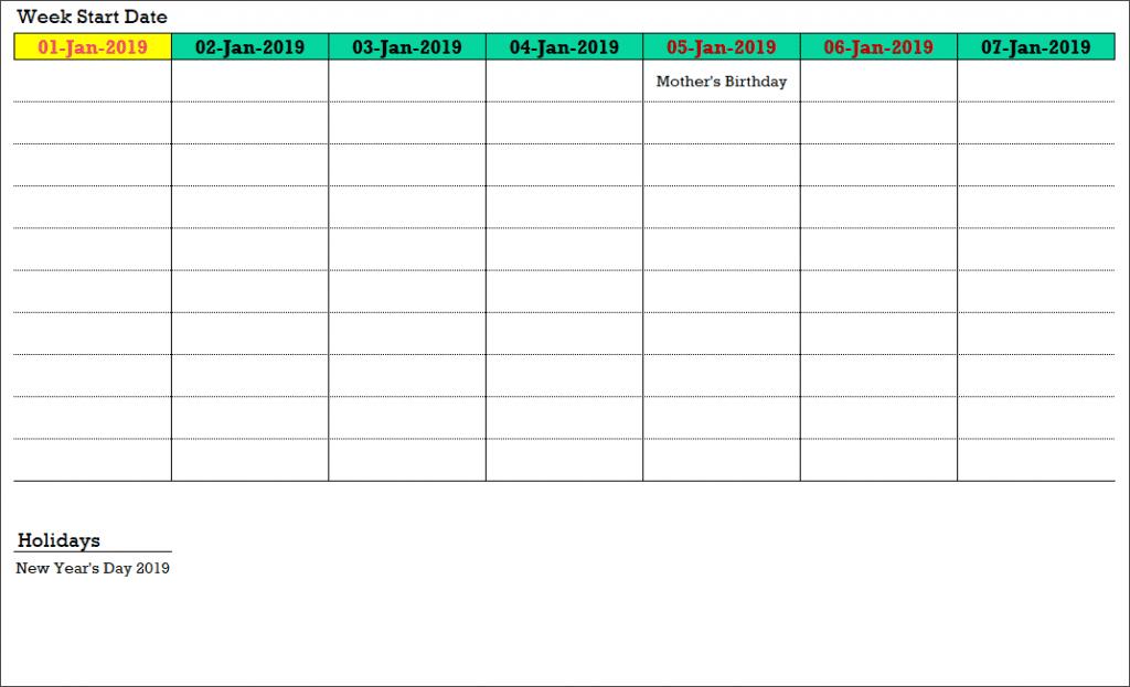 2019 Excel Calendar Template - Free - 19 Calendar Designs One Week Calendar To Type In