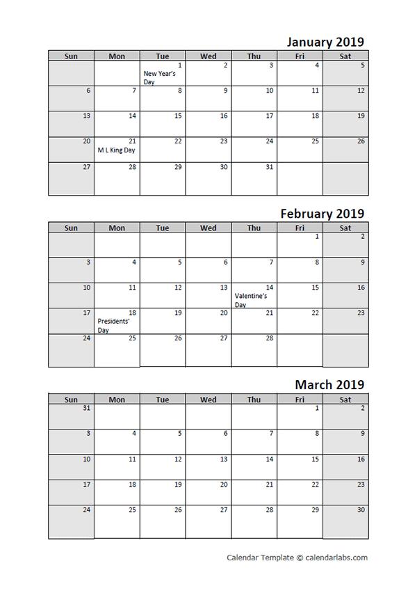 2019 Quarterly Calendar With Holidays - Free Printable Printable 3 Month Calendar