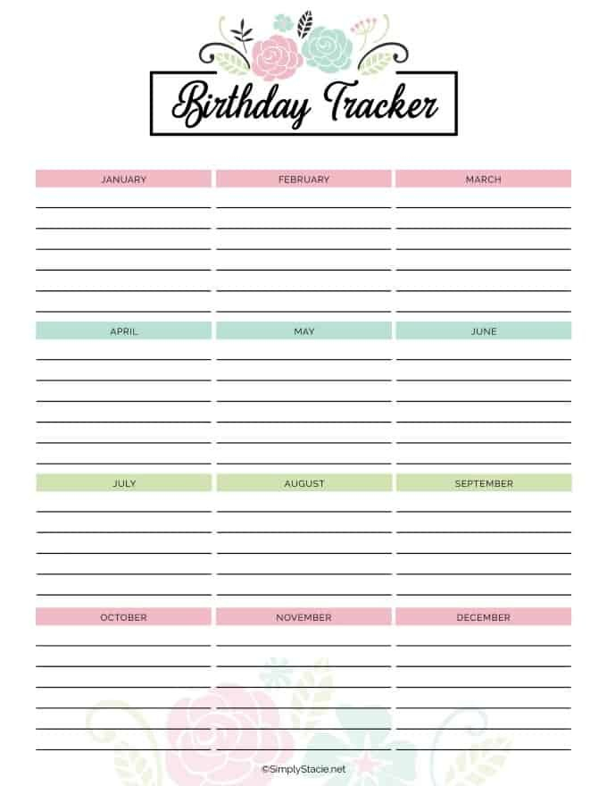 2019 Yearly Calendar Free Printable - Simply Stacie 12 Month Birthday Calendar Free Printable