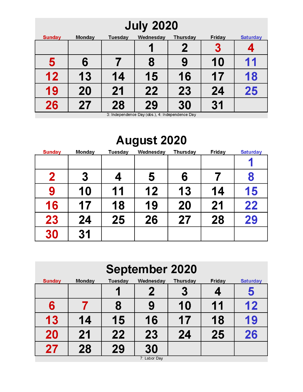 2020 Calendar Printable Pdf 3 Months Per Page | Free Free Printable Calendars By 3 Months