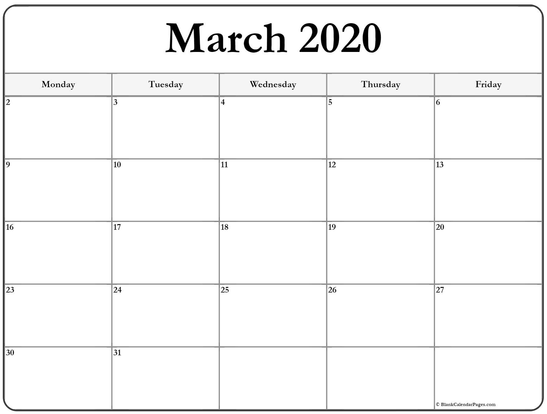 2020 Calendar That Shows Only Monday Through Friday July Calendar With Monday Through Friday Only