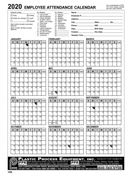 2020 Employee Attendance Calendar Pdf | Printable Calendar Fillable Birthday Calendar Template Excel