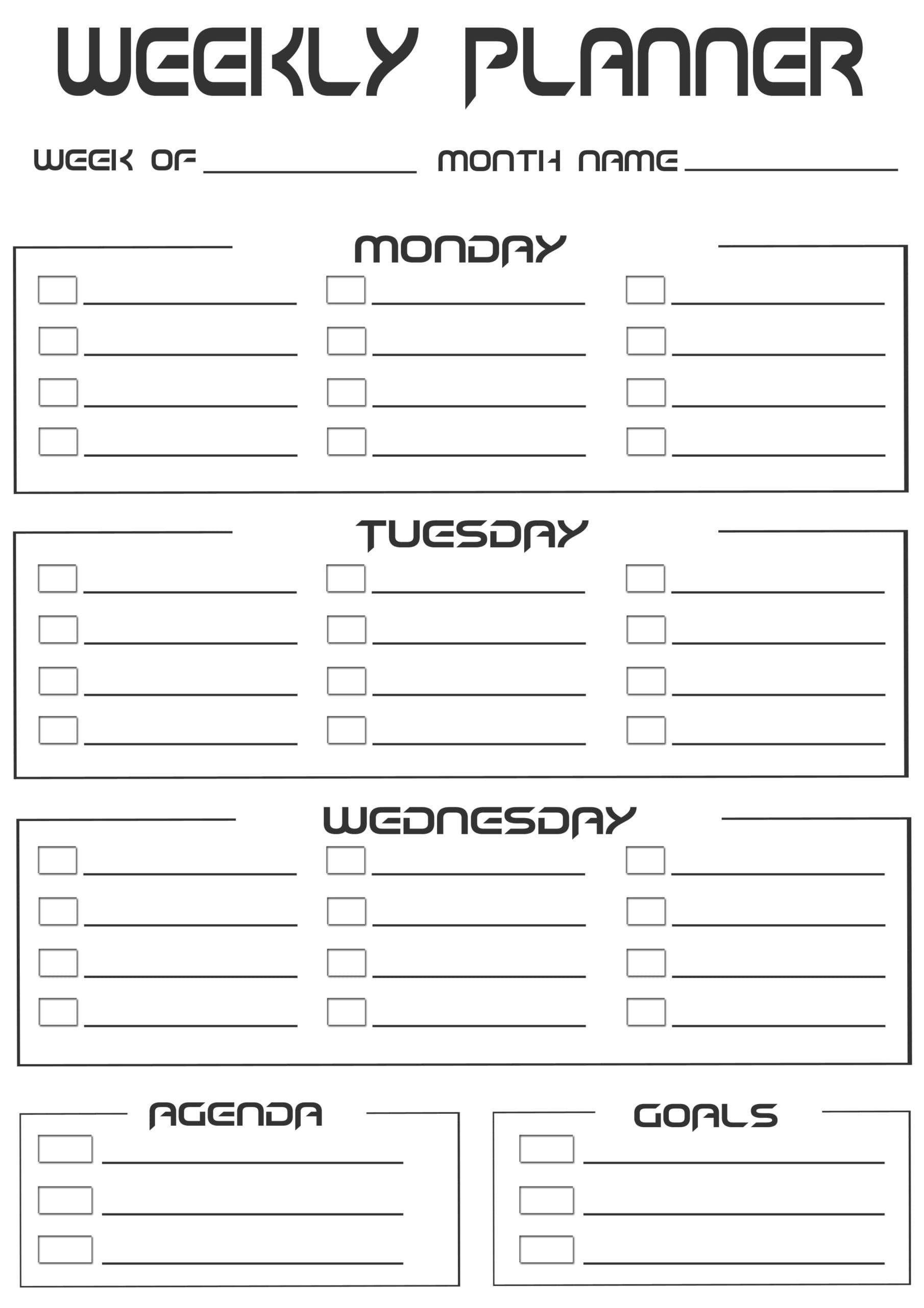 2020 Free 20+ Printable Weekly Planner- Weekly Schedule Two Week Calendar Pdf