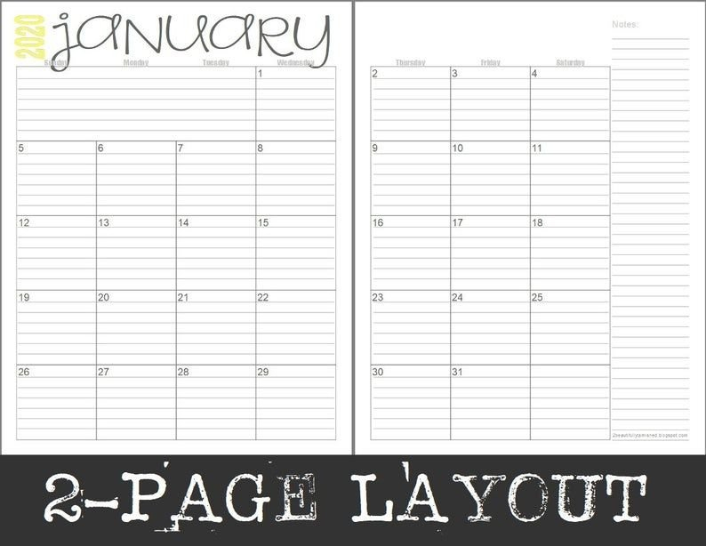 2020 Monthly 2-Page Lined Calendars (Full Year) Printable Monthly Lined Calendar Template