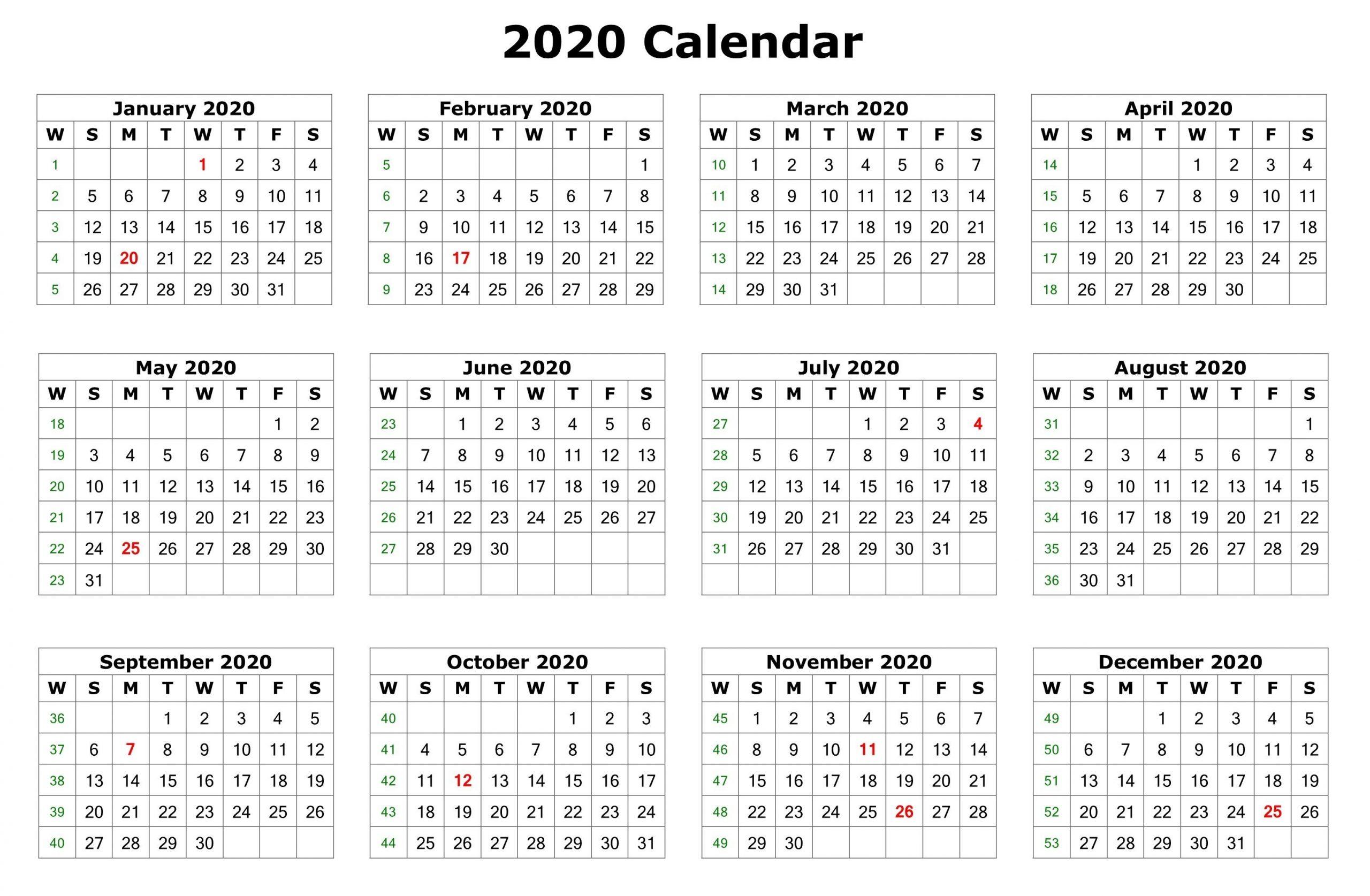 2020 One Page Calendar Printable   Calendar 2020 Editable 12 Month Calendar