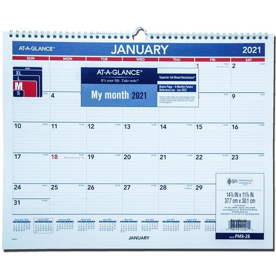 2021 At-A-Glance Pm8-28 Monthly Wall Calendar, 14-7/8 X 11 Monthly Calendar On 8 X 11 Sheet
