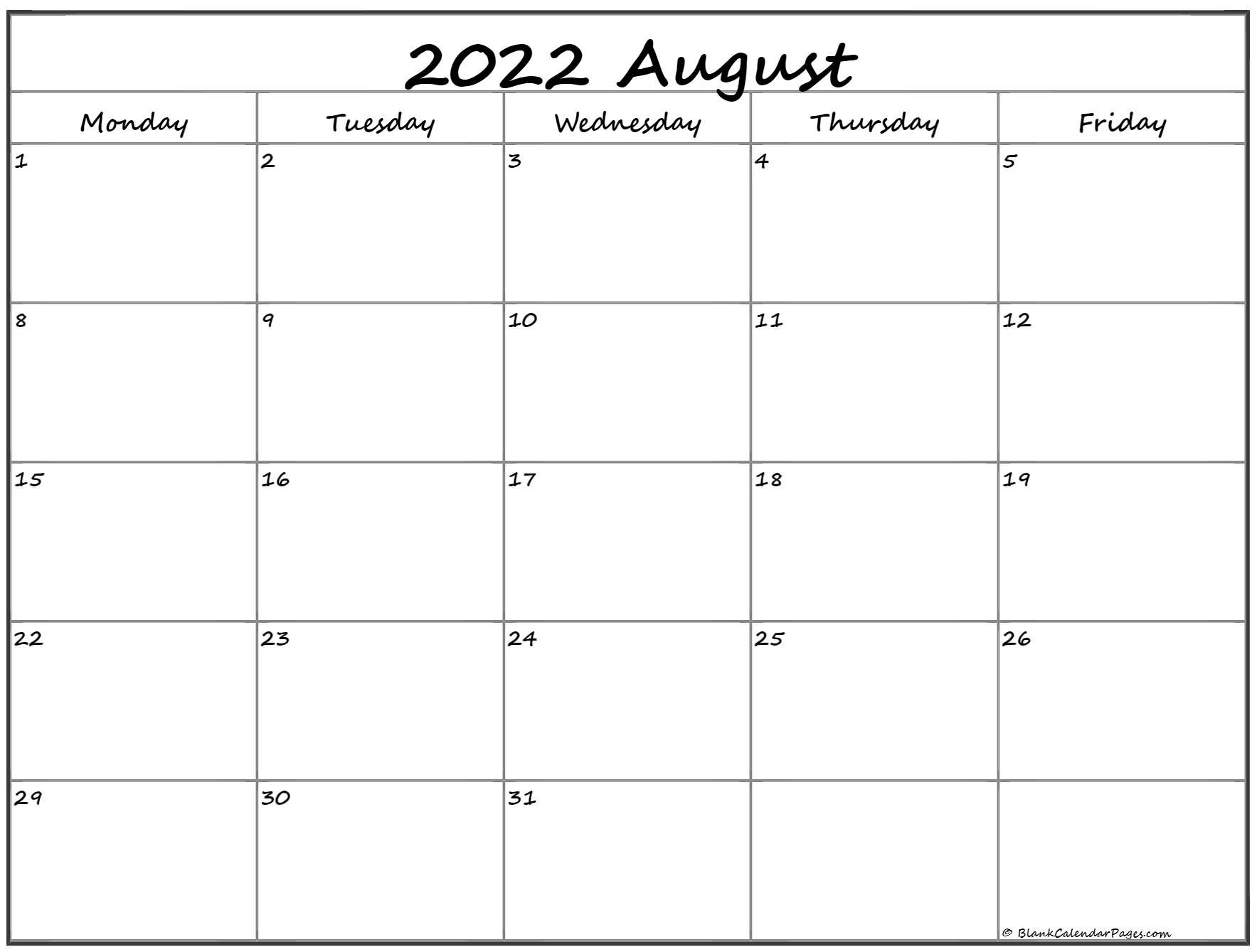 2021 Calendar That Shows Only Monday Through Friday Free Fillable Monday Through Friday Calendar